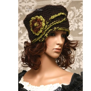 LORETTA / CSOKI - exkluzív horgolt kalap, Ruha & Divat, Sál, Sapka, Kendő, Kalap, Horgolás, Varrás, Prémium minőségű extra-vastag, sötétbarna színű selymes-fényű gyapjúfonalból horgoltam ezt a látvány..., Meska