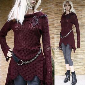 AVANTGARD tunika - extravagáns pulóver-ruha, Táska, Divat & Szépség, Női ruha, Ruha, divat, Ruha, Póló, felsőrész, Különleges, mélybordó, elasztikus kétrétegű anyagból készítettem ezt az extravagáns felsőt. Ez az ol..., Meska