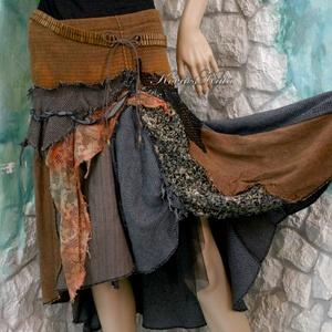 ŐSZI AVAR - patchwork szoknya , Szoknya, Női ruha, Ruha & Divat, Festett tárgyak, Varrás, A művészi vintage stílus szerelmeseinek ajánlom e kollekcióm aprólékos munkával és sok-sok szeretett..., Meska