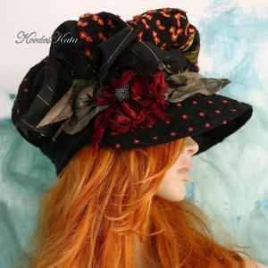 ANTÓNIA - patchwork barett-kalap, Táska, Divat & Szépség, Női ruha, Ruha, divat, Sál, sapka, kesztyű, Sapka, Patchwork, foltvarrás, Varrás, Dús formájú, sildes patchwork kalap extravagáns Hölgyeknek a hideg téli napokra:\n\nEzt a darabot sok-..., Meska