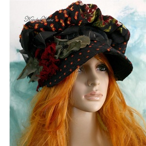 ANTÓNIA - patchwork barett-kalap (brokat) - Meska.hu