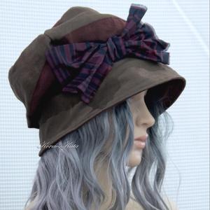 BERTA / selymes - design kalap , Kalap, Sál, Sapka, Kendő, Ruha & Divat, Varrás, Selymes felületű könnyű vászonból készült szövetből készült öblös, stílusos kalapocska széles csipke..., Meska