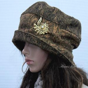 BERTA / aranyos - kézműves kalap , Táska, Divat & Szépség, Sál, sapka, kesztyű, Ruha, divat, Sapka, Női ruha, Varrás, Metál-szálas ( barnás-zöldes-rezes) jacquard-szövet színe-visszájából készült  öblös, stílusos kalap..., Meska