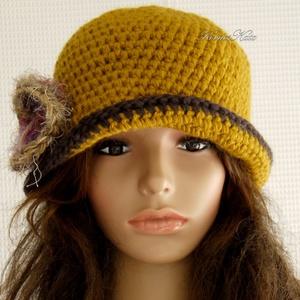 FLAPPER-kalap / okkersárga horgolt kalap (brokat) - Meska.hu