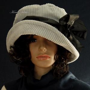 """K A L A P O K , K E N D Ő K ..............ANDERSEN - ezüstszürke design kalap, Táska, Divat & Szépség, Sál, sapka, kesztyű, Ruha, divat, Sapka, Női ruha, Kézzel festett elefántkordból készítettem ezt a romantikus """"mesebeli"""" kalapom.  Merevített ernyős na..., Meska"""