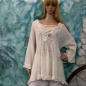 ANGYALTUNIKA XXL - iparművész lagenlook ruha, Táska, Divat & Szépség, Női ruha, Ruha, divat, Ruha, Varrás, Ezt a kedvelt,romantikus-lagenlook fazonomat rusztikus  gézemből készítettem, nyers színében hagytam..., Meska