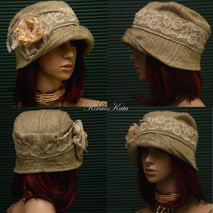 MARIE cloche - artsy lenszövet flapper kalap (brokat) - Meska.hu