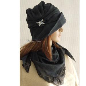 """ERNA-lux: gyapjúszövet kalap kendővel, Táska, Divat & Szépség, Női ruha, Ruha, divat, Sál, sapka, kesztyű, Sapka, Varrás, Az 1920-as évek flapper divatja köszön vissza \""""ERNA\"""" fantázianevű, rakott-tetejű, harang-szabású, mé..., Meska"""