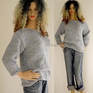 JULIA - kézzel kötött vastag pulóver, Táska, Divat & Szépség, Női ruha, Ruha, divat, Ruha, Póló, felsőrész, Kötés, Jó hír a fázósoknak!\nÚjra divat a vastag, meleg kézzel kötött pulóver! \nEzt a melírozott modellemet ..., Meska