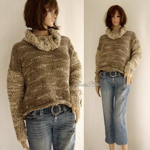TWIGGY- kézikötött kámzsás alpaka-pulóver, Táska, Divat & Szépség, Női ruha, Ruha, divat, Ruha, Póló, felsőrész, Kötés, Jó hír a fázósoknak!\nÚjra divat a vastag, meleg kézzel kötött pulóver! \nEzt a melírozott modellemet ..., Meska