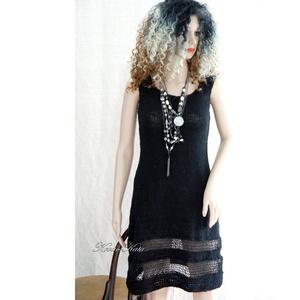 """AUDREY - kézzel kötött """"kis fekete ruha"""", Ruha & Divat, Női ruha, Ruha, Puha, középvastag akril-fonalból kézzel kötött modellem a klasszikus elegancia híveinek ajánlom.  Mé..., Meska"""