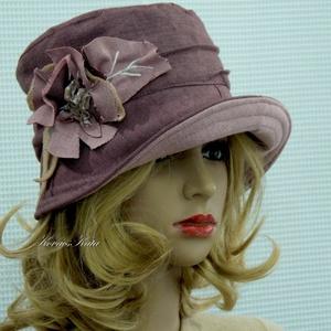 FRÉZIA-cloche - romantikus design kalap, Kalap, Sál, Sapka, Kendő, Ruha & Divat, Varrás, Ez a romantikus, tűzött karimájú kalapom mályva-színű pamutvászonból készült, az anyag mindkét oldal..., Meska