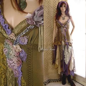 ZAZI - shabby chic art-design-ruha, Alkalmi ruha & Estélyi ruha, Női ruha, Ruha & Divat, Varrás, Festett tárgyak, A művészi vintage stílus szerelmeseinek ajánlom e kollekcióm aprólékos munkával és sok-sok szeretett..., Meska