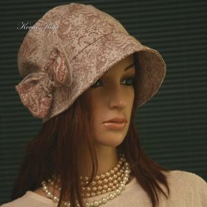 MARIE cloche - lenvászon flapper kalap (brokat) - Meska.hu