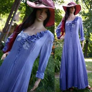 BEATRIX - artsy design princessz-ruha , Ruha & Divat, Női ruha, Ruha, Varrás, Festett tárgyak, Kedvelt romantikus modellem rusztikus, nyers pamutvászonból készítettem, encián-kékre festettem. \n(A..., Meska