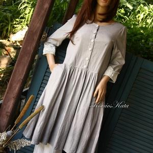 EMILY - design-ruha , Ruha & Divat, Női ruha, Ruha, Festett tárgyak, Varrás, Klasszikus szabású lenvászon ruha halványszürkére átmenetesen festve.\nA gloknis szoknyarész oldala b..., Meska