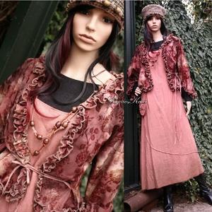 SHASHA - jersey kabátka - romantikus kardigán, Táska, Divat & Szépség, Női ruha, Ruha, divat, Kabát, Varrás, Csokoládébarna, gyárilag batikolt jerseyből készítettem ezt a 3/4-es ujjú kötős elejű könnyű,fodrocs..., Meska