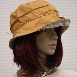 BÖBE-KALAP / napsárga lenvászon kalap - ruha & divat - sál, sapka, kendő - kalap - Meska.hu