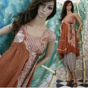 XÉNIA - shabby chic design-ruha, Ruha & Divat, Női ruha, Ruha, Festett tárgyak, Varrás, Meska