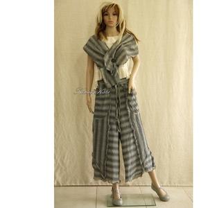 GALINA - extravagáns szárongnadrág sállal, Táska, Divat & Szépség, Női ruha, Ruha, divat, Nadrág, Varrás, A különlegességek kedvelőinek!\nExkluzív márkás, könnyű, kockás lenszövetből tervezett, csomózott alj..., Meska