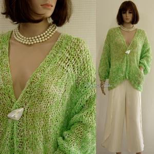 EDINA/zöld - nyári kardigán - kézzel kötött, Táska, Divat & Szépség, Női ruha, Ruha, divat, Kabát, Poncsó, Kötés, Hűvös nyári napokra ajánlom ezt a kényelmesen bő, trendi darabomat:\nlátványos zöld színű, kreppes-ci..., Meska