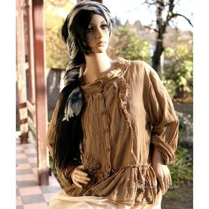 SZANDRA - artsy lagenlook ing-kabátka, Ruha & Divat, Női ruha, Blúz, Varrás, Festett tárgyak, Különleges, romantikus  modellemet több színben is készítem rusztikus nehéz gézemből.\nElejét fodrok,..., Meska
