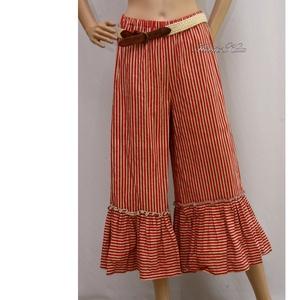 TARANTELLA - romantikus lagenlook design nadrág , Táska, Divat & Szépség, Női ruha, Ruha, divat, Nadrág, Varrás, Festett tárgyak, Fodros-aljú vászonnadrág kényelmes, behúzott gumis derékkal csíkos pamutvászonból, kézzel színezet a..., Meska