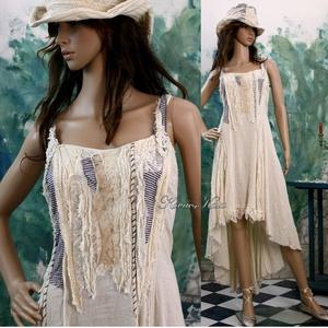 """TAMARA - shabby chic design-ruha, Táska, Divat & Szépség, Női ruha, Ruha, divat, Ruha, Varrás, Foltberakás, Bohém Nőknek:\n\nKönnyű, nyers pamutvászonból készült romantikus modellem mellrésze \""""szakadt\"""" hatású r..., Meska"""
