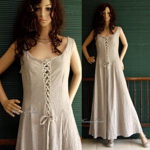 PARMA kirtle - romantikus design ruha, kötényruha, Ruha, Női ruha, Ruha & Divat, Varrás, Rusztikus, puha melange lenszövetből készítettem a kora-középkori kirtle általam modernizált szabásm..., Meska