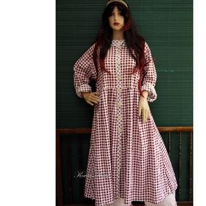 FANNI - baby-doll  lagenlook kabát-ruha, Táska, Divat & Szépség, Női ruha, Ruha, divat, Ruha, Varrás, Bordó kockás pamut-puplinból készült elöl gombos húzott ruha, amit a réteges öltözetekhez könnyű kab..., Meska