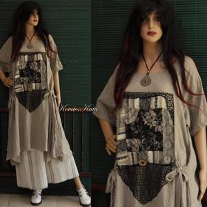 MANILIA - lagenlook tunikaruha applikációval, Táska, Divat & Szépség, Ruha, divat, Női ruha, Ruha, Varrás, Foltberakás,  Ezt a látványos modellemet puha, melange lenszövetből készítettem , \'rózsa-ablak\' dekorációval, és ..., Meska