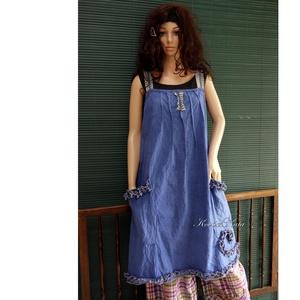 ARTSY SLIP / TINTA - design kötényruha, Ruha, Női ruha, Ruha & Divat, Festett tárgyak, Varrás, Puha, bolyhozott felületű, kézzel festett pamutvászonból készült kényelmes kötényruha a réteges öltö..., Meska