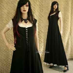 ÉBEN KIRTLE - extravagáns design-ruha, Alkalmi ruha & Estélyi ruha, Női ruha, Ruha & Divat, Varrás, Nagyvonalú hosszú-ruha - a középkori kirtle általam modernizált szabásmintájával.\nSré szabásának kös..., Meska