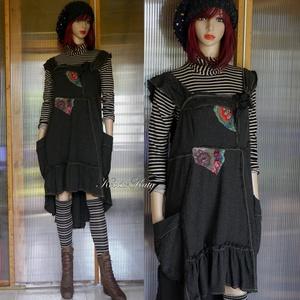 ARTSY SLIP: TERA - bohém kötényruha, Táska, Divat & Szépség, Ruha, divat, Női ruha, Ruha, Varrás, Foltberakás, Rusztikus, puha melange gyapjúszövetből készült, hangsúlyos, kívül-varrt darabokból összeállított kö..., Meska