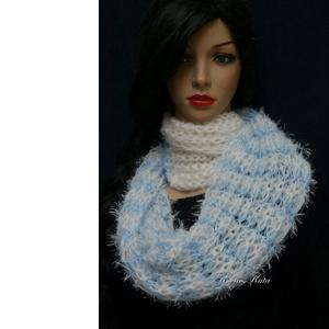 PILLE-BOA/kék- kézzel kötött design-sál , Táska, Divat & Szépség, Ruha, divat, Sál, sapka, kesztyű, Sál, Női ruha, Kötés, Egyedi, látványos téli luxus-kiegészítő:\n\npillekönnyű, habosan kötött sál, amit kétszer nyakra-teker..., Meska