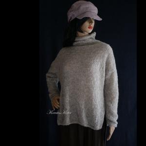 TEKNŐCKE/szürke - exkluzív kézzel kötött alpaka pulóver, Táska, Divat & Szépség, Ruha, divat, Női ruha, Ruha, Kötés, Ez az álom-puha, klasszikusan elegáns, teknőc-nyakú, finom, könnyű, mégis meleg pulóver, igazi luxus..., Meska