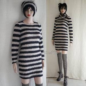 OP-ART exkluzív kézzel kötött alpaka pulóver-ruha, Táska, Divat & Szépség, Ruha, divat, Női ruha, Ruha, Kötés, Ez az extravagáns, álom-puha, finom, extra-könnyű, mégis meleg széles-csíkos pulóver-ruha, igazi lux..., Meska