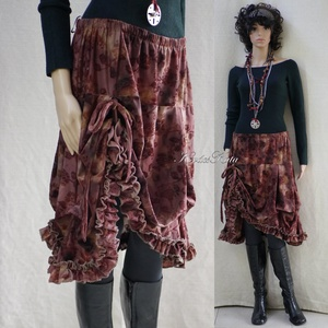 CSOKI-MUFFIN - bohém jersey-szoknya, Ruha & Divat, Szoknya, Női ruha, Habos, felcsípésekkel és zsinóros, állítható felhúzással formázott fodros-aljú szoknyácska rózsás, b..., Meska