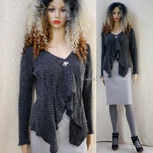GRAFIT-LINE - finom-kötött design-kabátka, kardigán, Ruha & Divat, Női ruha, Pulóver & Kardigán, Varrás, Különleges, hullámzó- rövid-fazonnal,  enyhén csillogó olasz gépi-kötött kelméből készült ez a model..., Meska