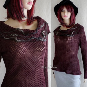 SZIRÉN-PULCSI - extravagáns design pulóver, Pulóver & Kardigán, Női ruha, Ruha & Divat, Varrás, Különleges, mélybordó, elasztikus kétrétegű anyagból készítettem ezt az extravagáns felsőt.\nEz az ol..., Meska
