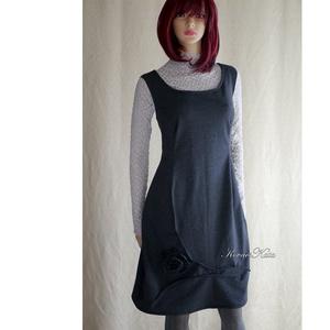 LIANA - design kötényruha , Táska, Divat & Szépség, Ruha, divat, Női ruha, Ruha, Varrás, Kényelmes, mégis elegáns trikó-pántos modellemet antracit-szürke, puha, enyhén elasztikus pamut-futt..., Meska