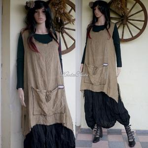VADÓCKA/mokka - kertésztunika - lagenlook kötényruha, Ruha & Divat, Ruha, Női ruha, A réteges öltözködés híveinek ajánlom ezt a modellem:  Egész évben jól hordható, kényelmes, mély kar..., Meska