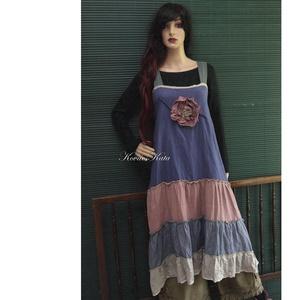 ARTSY SLIP / SÁVOS - lagenlook design kötényruha, Ruha, Női ruha, Ruha & Divat, Varrás, Különböző színű lenvászon sávokból összeállított látványos kötényruha a réteges öltözködéshez.\nMelle..., Meska