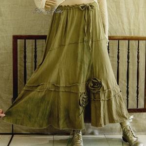 HERTA -  shabby chic design-szoknya , Táska, Divat & Szépség, Női ruha, Ruha, divat, Szoknya, Varrás, Festett tárgyak, Ha szereted a művészi darabokat:\nRusztikus, középvastag puha lenvászonból készült, részekből szabott..., Meska