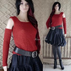 MIMI - akrilpulcsi - kézzel kötött pulóver kesztyűszárral, Táska, Divat & Szépség, Ruha, divat, Női ruha, Póló, felsőrész, Kötés, Csini, rövid, kézzel kötött borvörös színű akril+gyapjú pulóver hosszú kesztyűszárral.\n\nMérete: S -M..., Meska