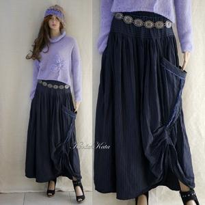 LUCA-SZOKNYA / sötétkék vászon - lagenlook fashion design  (brokat) - Meska.hu