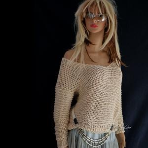 T R E N D I - P U L C S I K  / BELLE / kézzel kötött pulóver, Táska, Divat & Szépség, Női ruha, Ruha, divat, Blúz, Póló, felsőrész, Trendi, nagy V- kivágású, (vállról ledobható) jó esésű, kézzel kötött nyári pulcsi. Aláöltözve szezo..., Meska