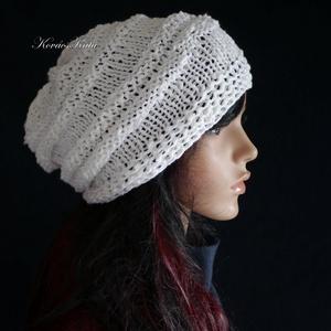 AMY-SAPI / hófehér - trendi kötött gyapjúsapka (brokat) - Meska.hu
