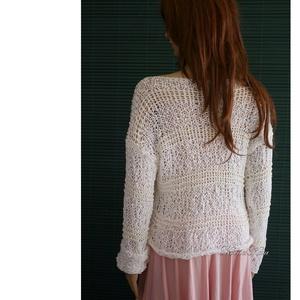 ORION- kézzel kötött nyári pamut pulóver (brokat) - Meska.hu