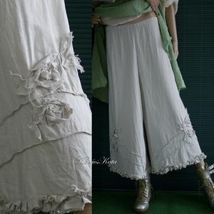 FUTÓRÓZSA - artsy lagenlook lenvászon nadrág , Táska, Divat & Szépség, Női ruha, Ruha, divat, Nadrág, Varrás, Kedvelt széles szárú nadrágom szegetlen szélű fodrokkal nehezítve, csavart rózsákkal és piékkel deko..., Meska